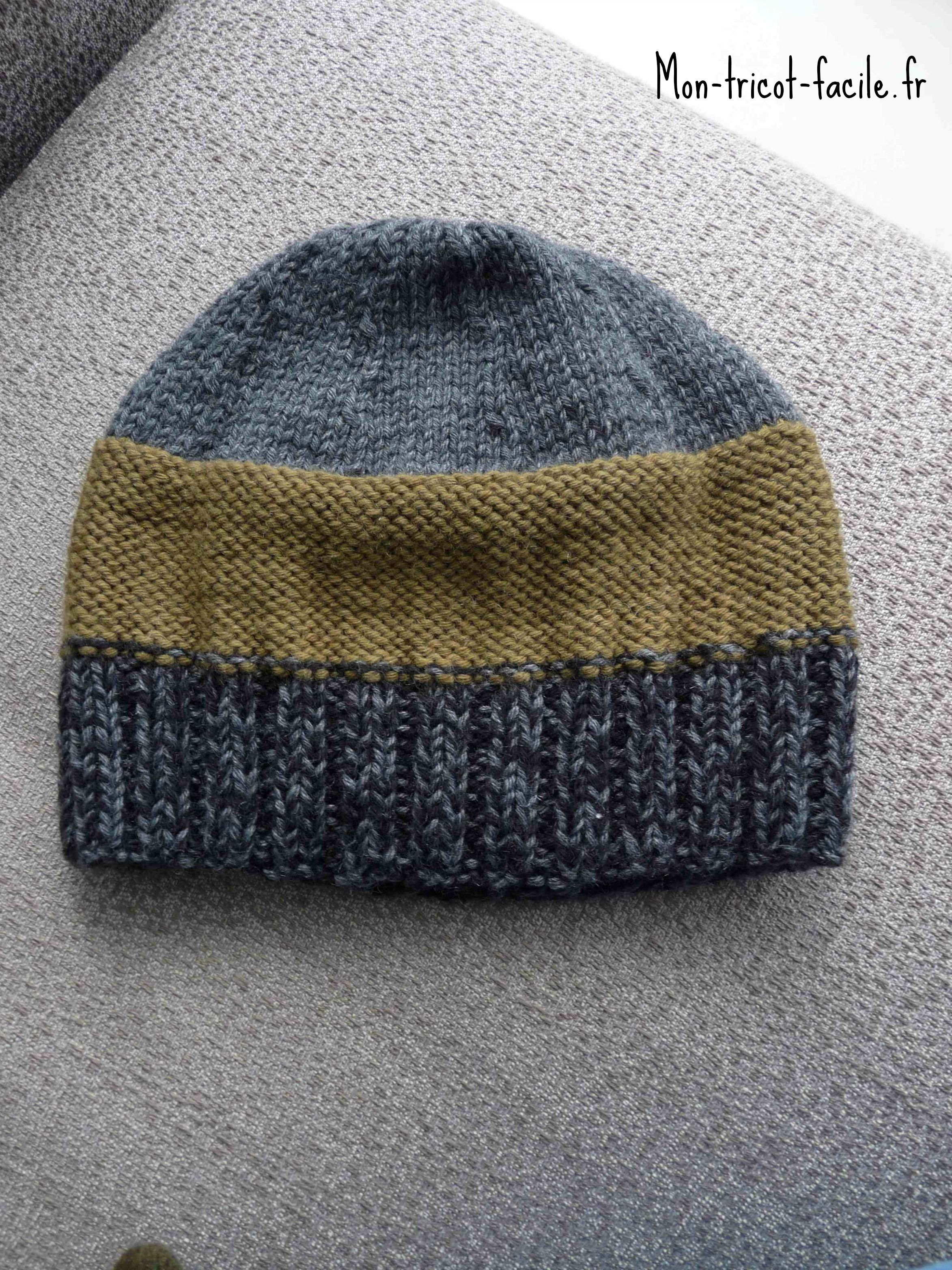 Tricoter un bonnet simple pour homme