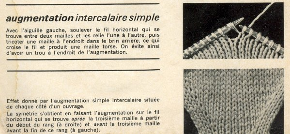 Tricot augmentation intercalaire envers