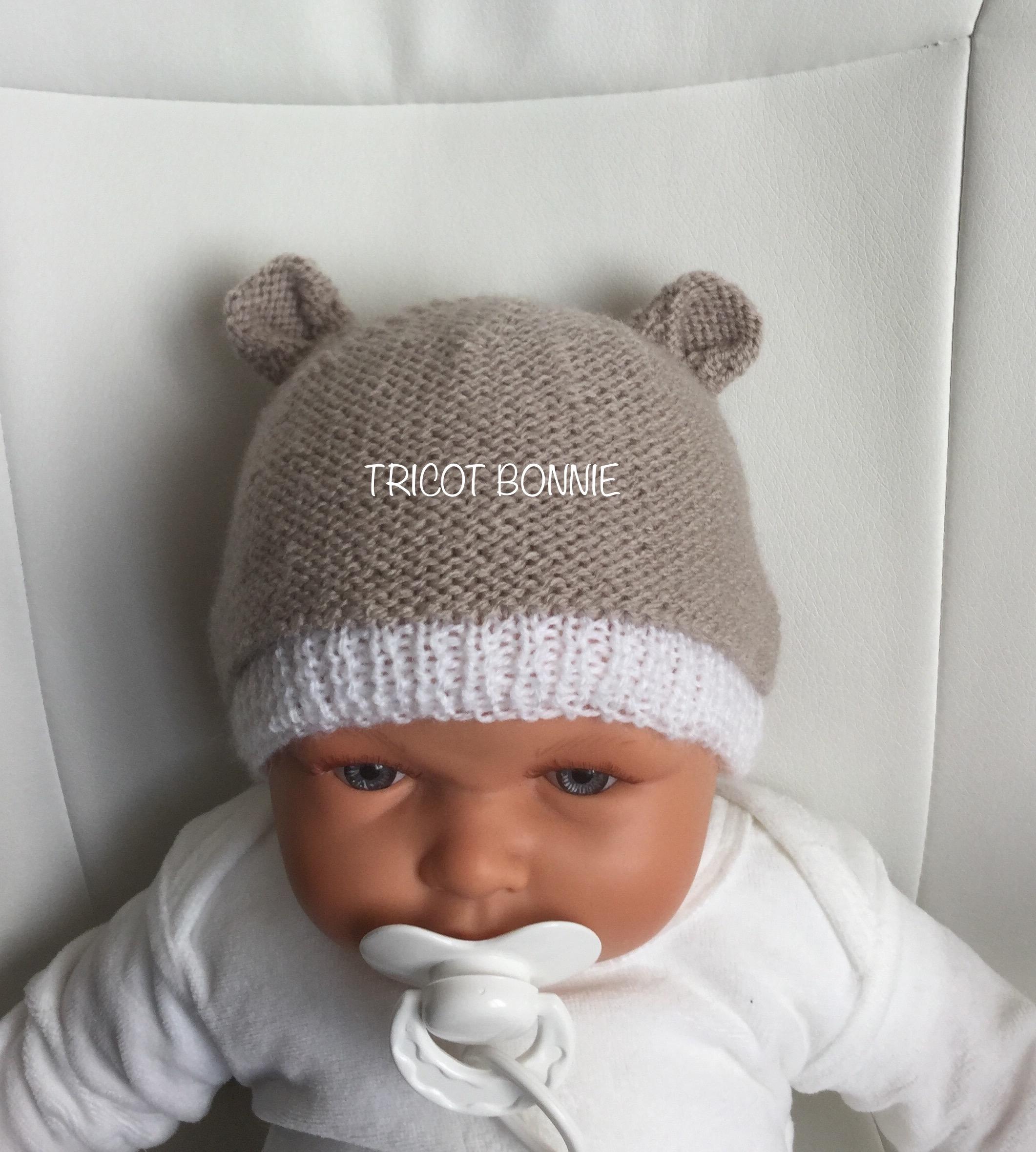 Tricot bonnet oreille bébé