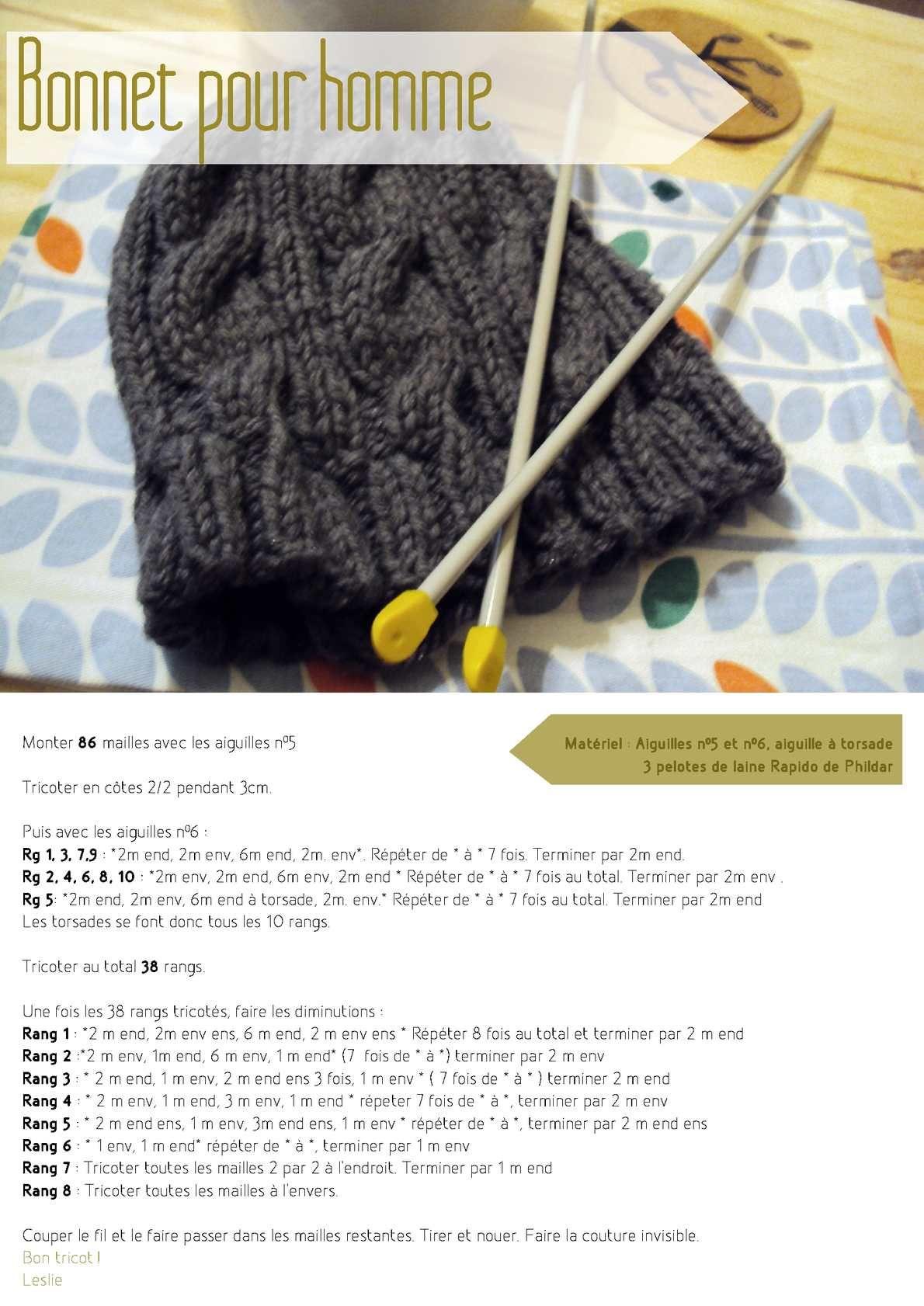 Tricoter un bonnet homme avec torsade