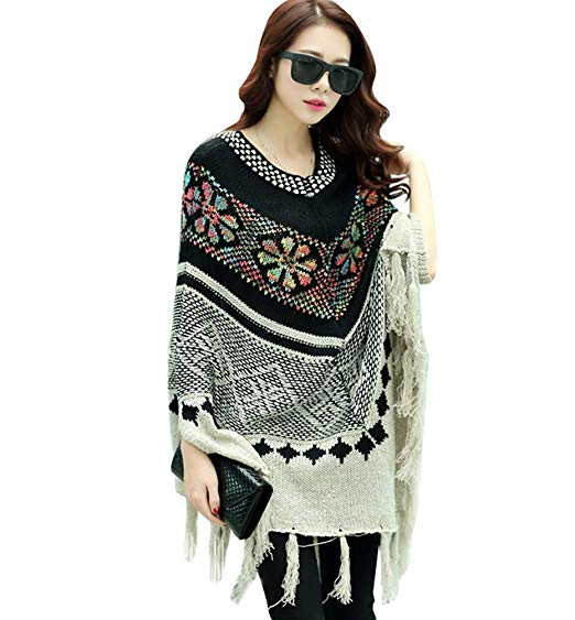 Tricoter poncho femme