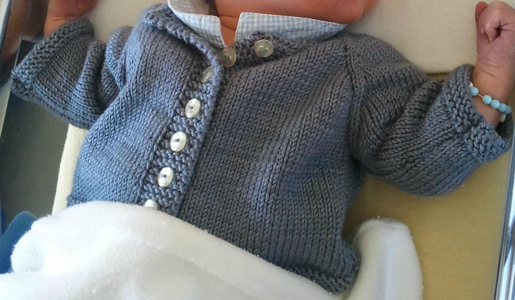 Tricot debutant tuto cardigan bebe