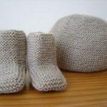 Tricoter chaussons bébé point mousse