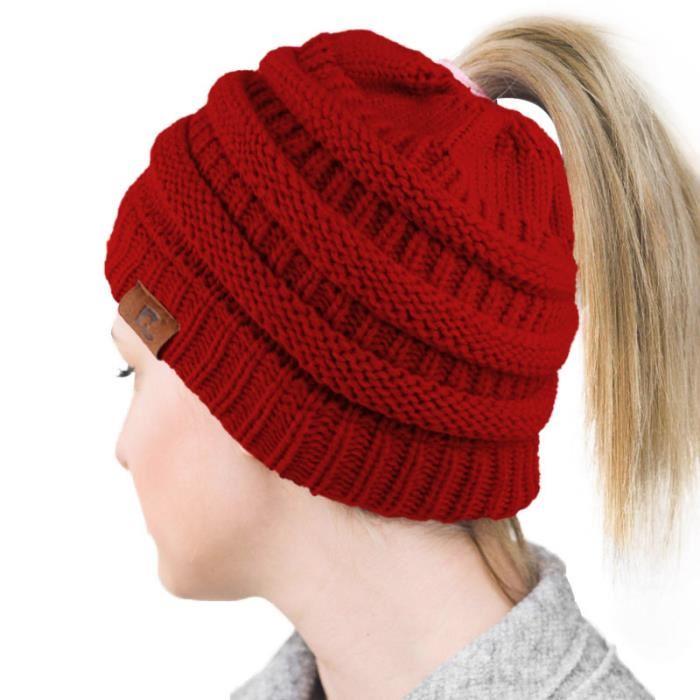 Tricoter bonnet queue de cheval