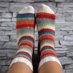 Tricot chaussettes rayures
