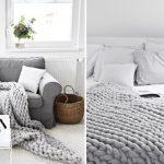 Tricoter plaid laine grosse maille