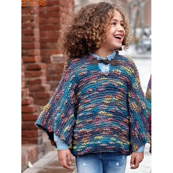 Tricot poncho facile fillette
