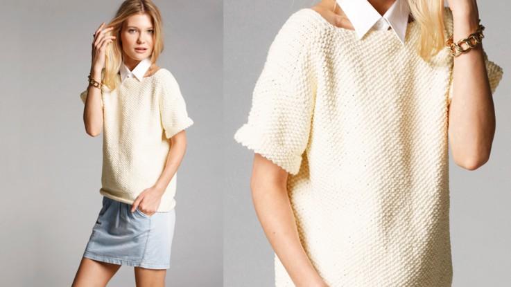 Modele gilet tricot point de riz