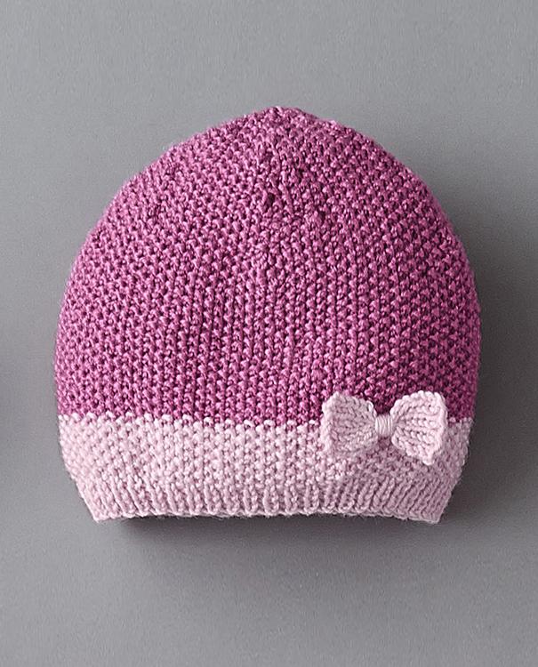 Tricot bonnet bébé fille