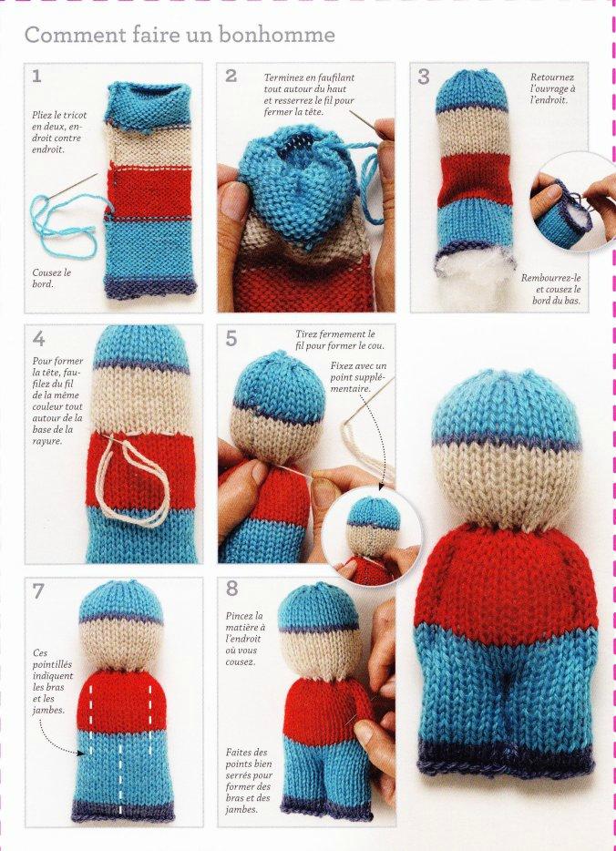 Doudou tricoté avec les bras