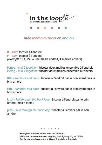 Glossaire tricot anglais français
