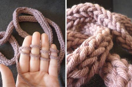 Comment tricoter avec les doigts une echarpe