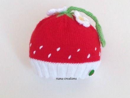 Patron tricot bonnet bebe fraise