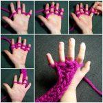 Tricoter avec les doigts foulard