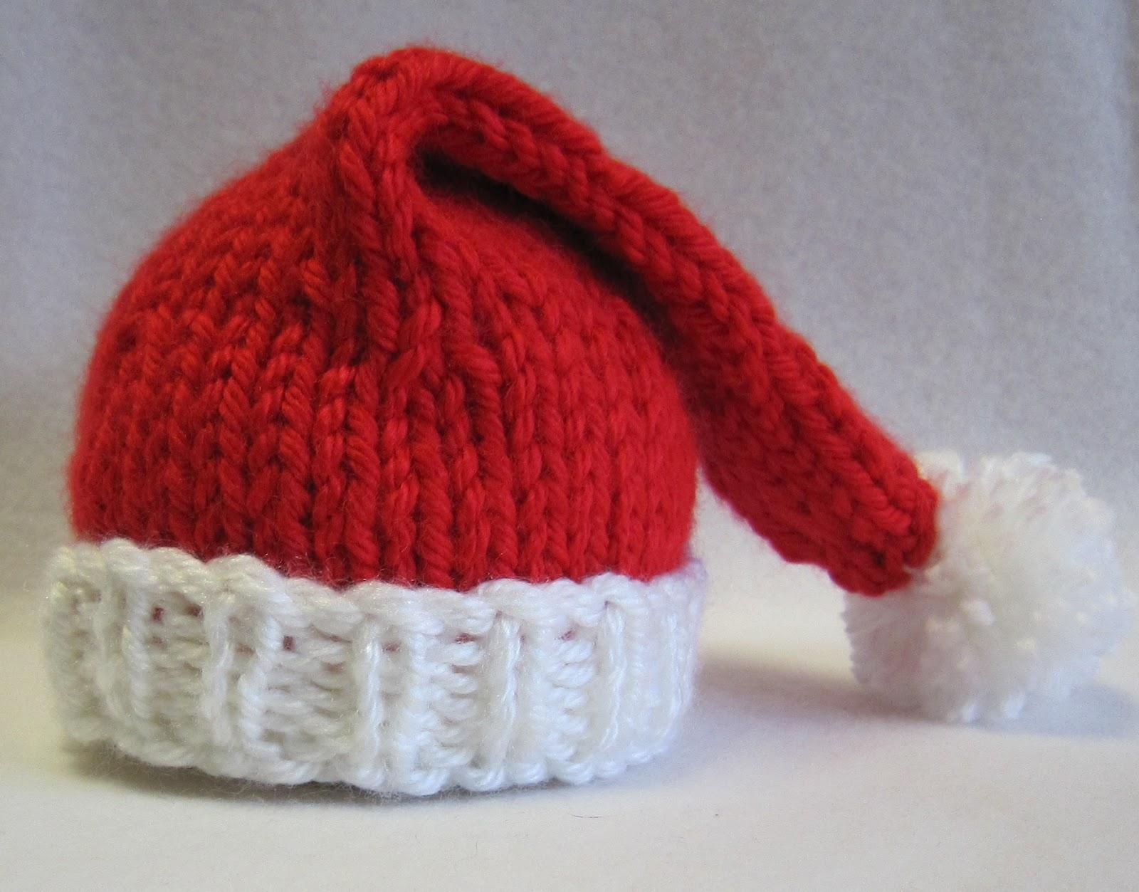 Tricot bonnet pere noel bébé
