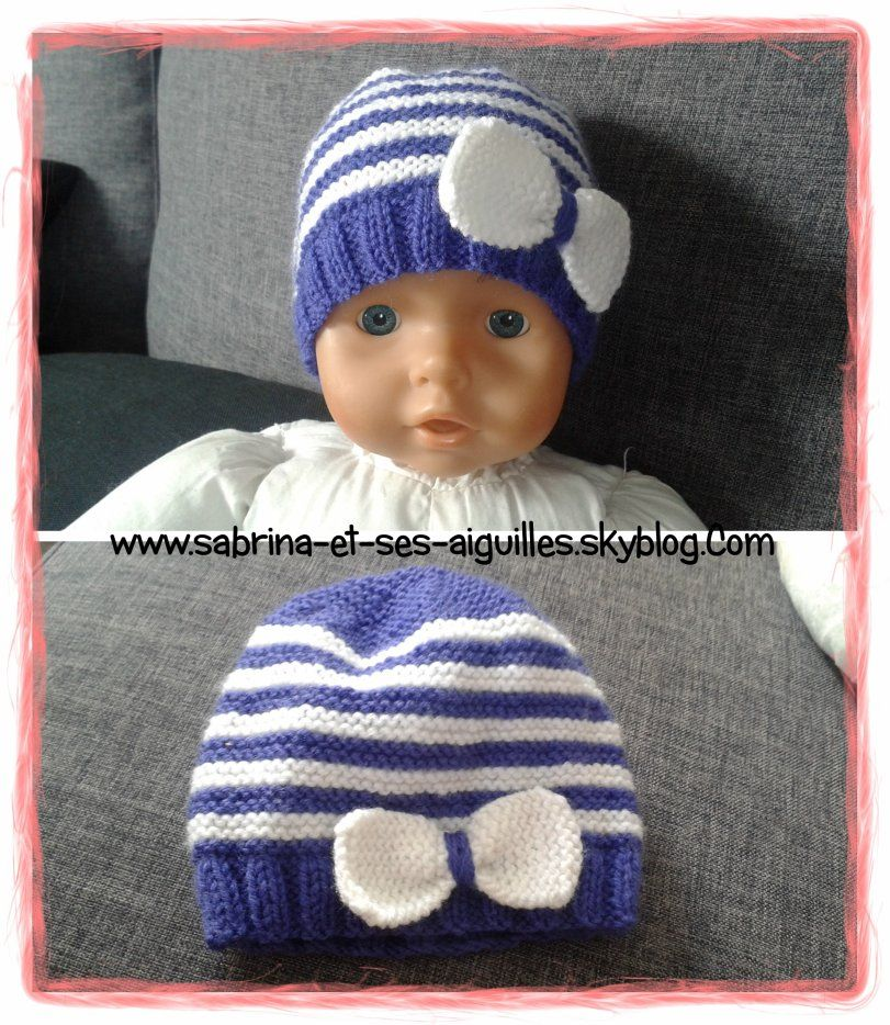 Tricot bonnet bébé 1 mois