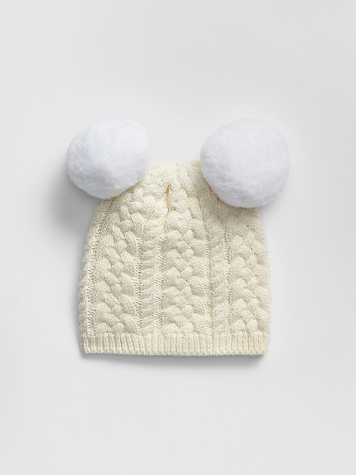 Tricot bonnet bebe pompon