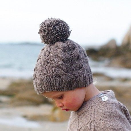 Tricot bonnet bebe torsade