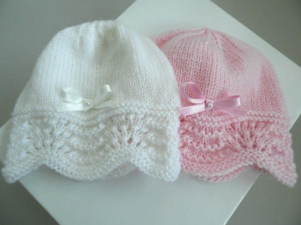Bonnet bébé tricot blanc