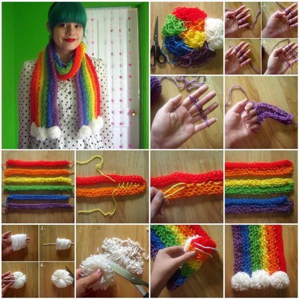 Tricoter avec les doigts echarpe
