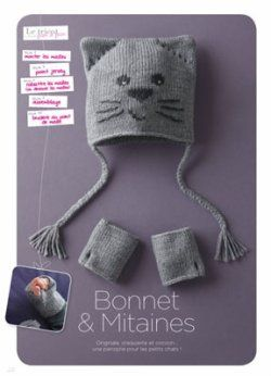 Tricot bonnet bébé chat