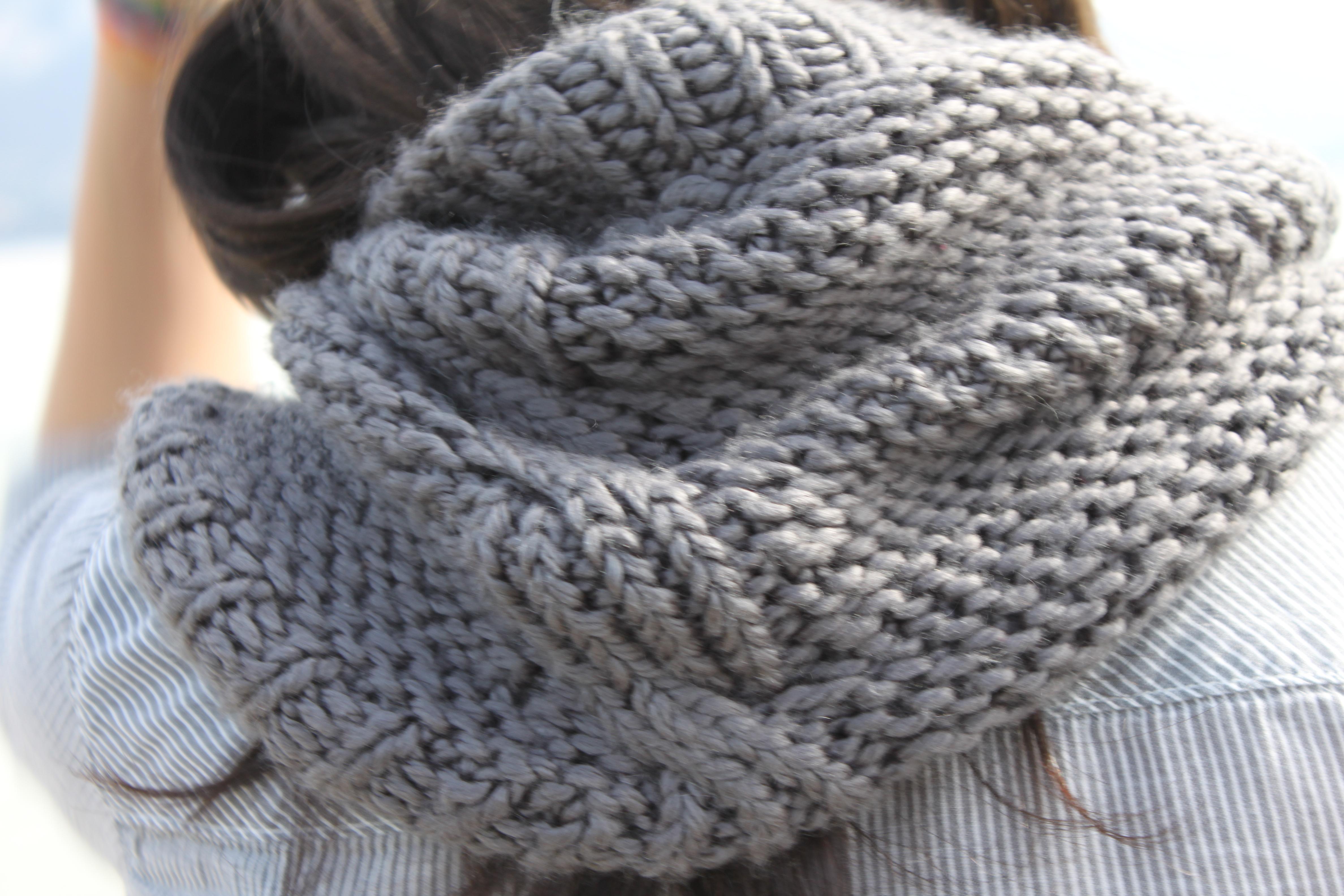 Tricoter avec des aiguilles circulaires un snood