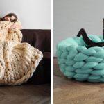 Tricot avec les mains grosse laine