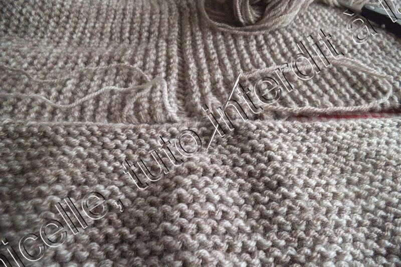 Assemblage tricot manche point mousse
