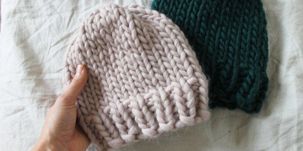 Tricot bonnet aiguilles rondes