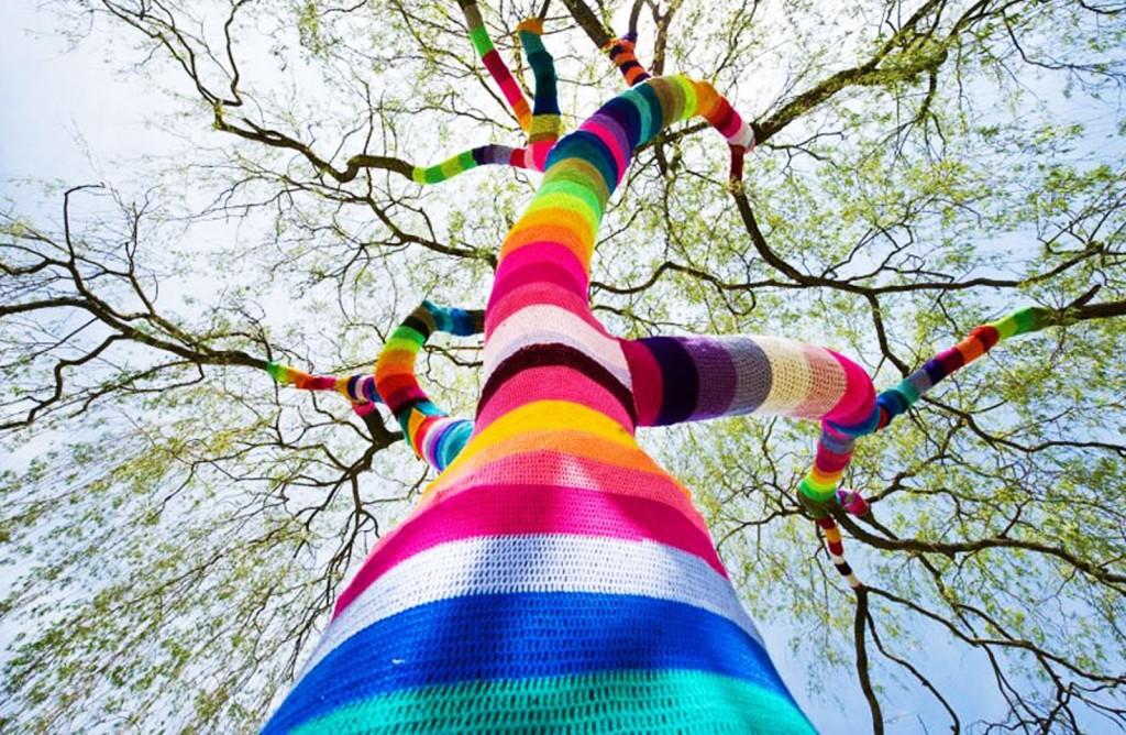 Habillage arbre tricot